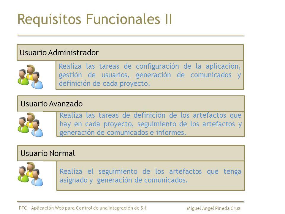 Requisitos Funcionales III Definición de un Proyecto Información Básica Definición Roles Definición Estados Definición WorkFlow Definición Usuarios-Roles Miguel Ángel Pineda Cruz PFC – Aplicación Web para Control de una Integración de S.I.