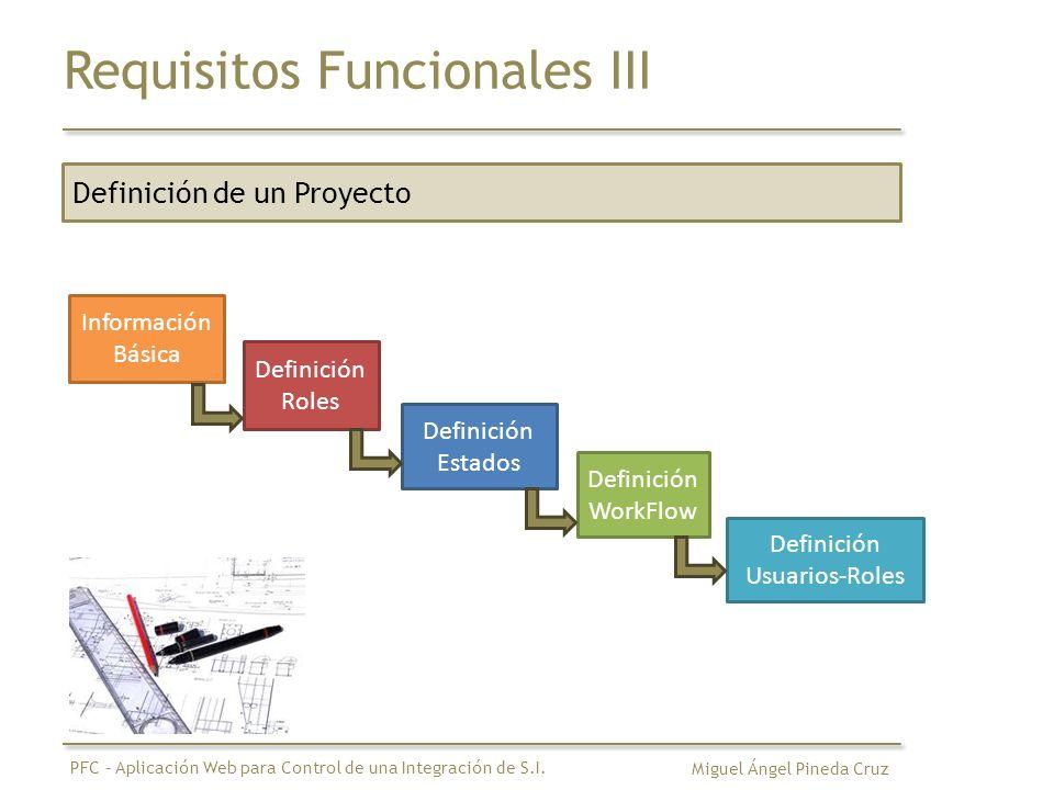 Requisitos Funcionales IV Definición de un WorkFlow Estado 1 Estado 2 Estado 3 rol 1 rol 3 Estado 4 rol 2 Estado 5 Estado 6 rol 3 rol 2 rol 4 Miguel Ángel Pineda Cruz PFC – Aplicación Web para Control de una Integración de S.I.