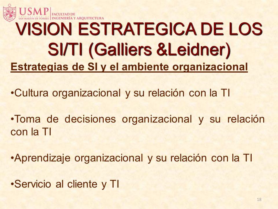 17 Estrategias de Negocios y su relación con las estrategias de SI VISION ESTRATEGICA DE LOS SI/TI (Galliers &Leidner)