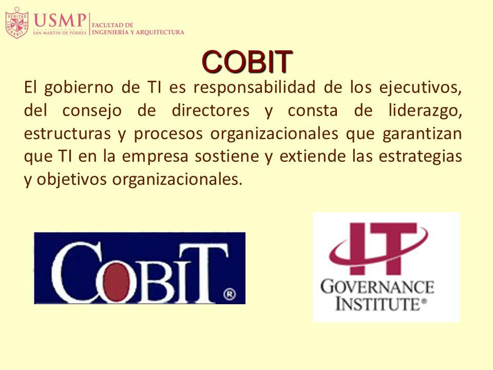 El gobierno de TI es responsabilidad de los ejecutivos, del consejo de directores y consta de liderazgo, estructuras y procesos organizacionales que garantizan que TI en la empresa sostiene y extiende las estrategias y objetivos organizacionales.