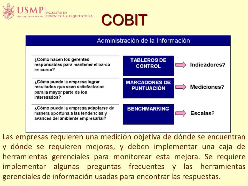 COBIT Las empresas requieren una medición objetiva de dónde se encuentran y dónde se requieren mejoras, y deben implementar una caja de herramientas gerenciales para monitorear esta mejora.