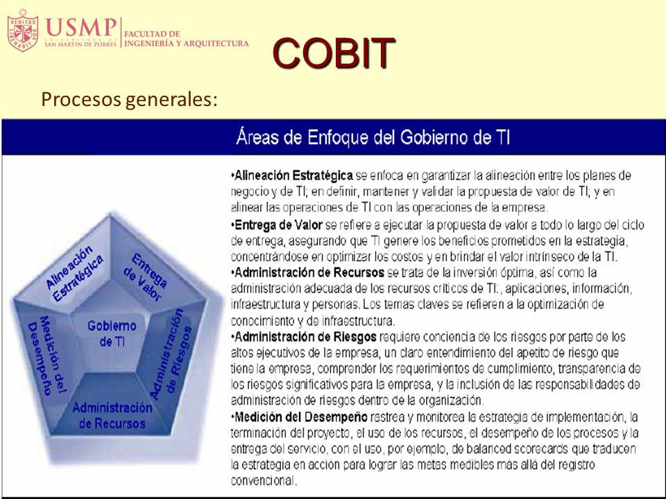 COBIT Las empresas requieren una medición objetiva de dónde se encuentran y dónde se requieren mejoras, y deben implementar una caja de herramientas g