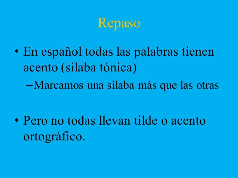 En español todas las palabras tienen acento (sílaba tónica) –Marcamos una sílaba más que las otras Pero no todas llevan tilde o acento ortográfico.