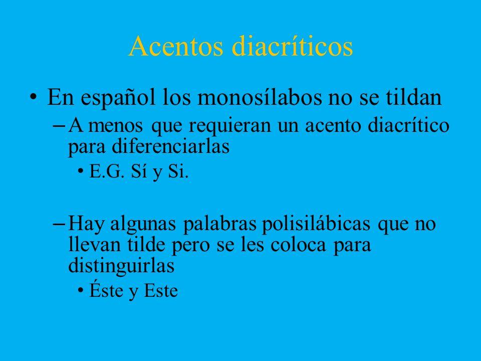 Acentos diacríticos En español los monosílabos no se tildan –A menos que requieran un acento diacrítico para diferenciarlas E.G. Sí y Si. –Hay algunas