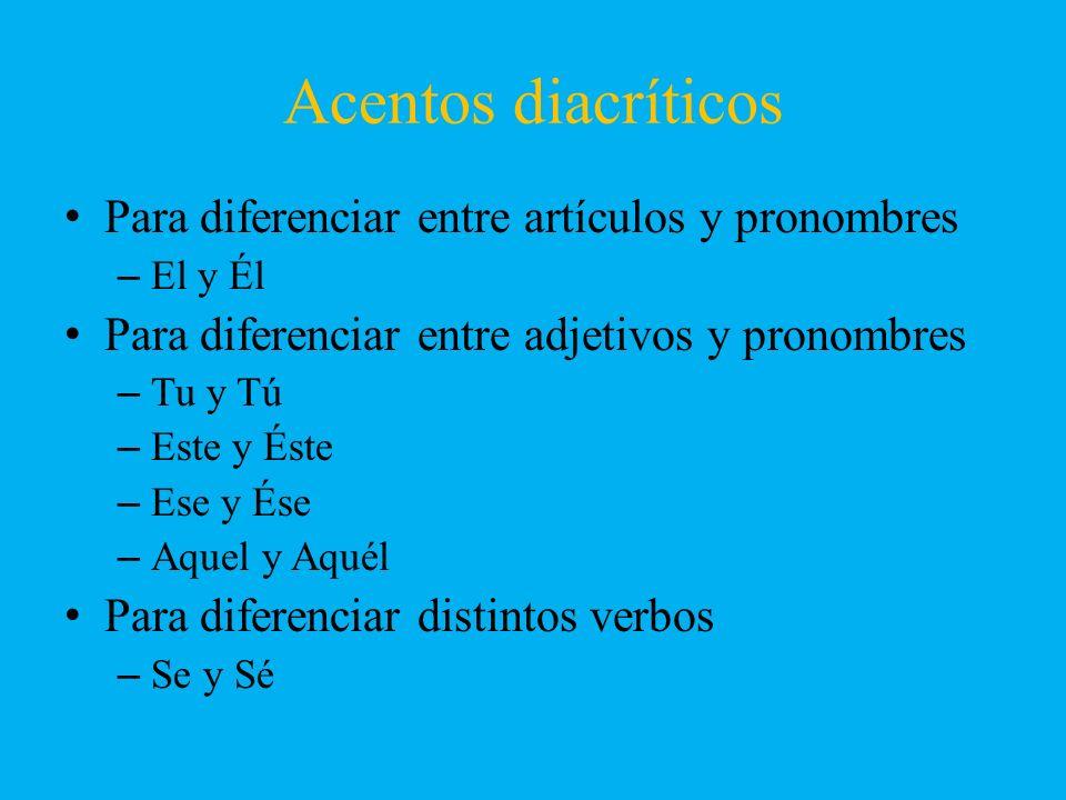 Acentos diacríticos Para diferenciar entre artículos y pronombres –El y Él Para diferenciar entre adjetivos y pronombres –Tu y Tú –Este y Éste –Ese y