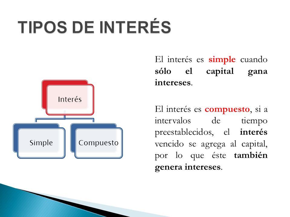 El interés es simple cuando sólo el capital gana intereses.