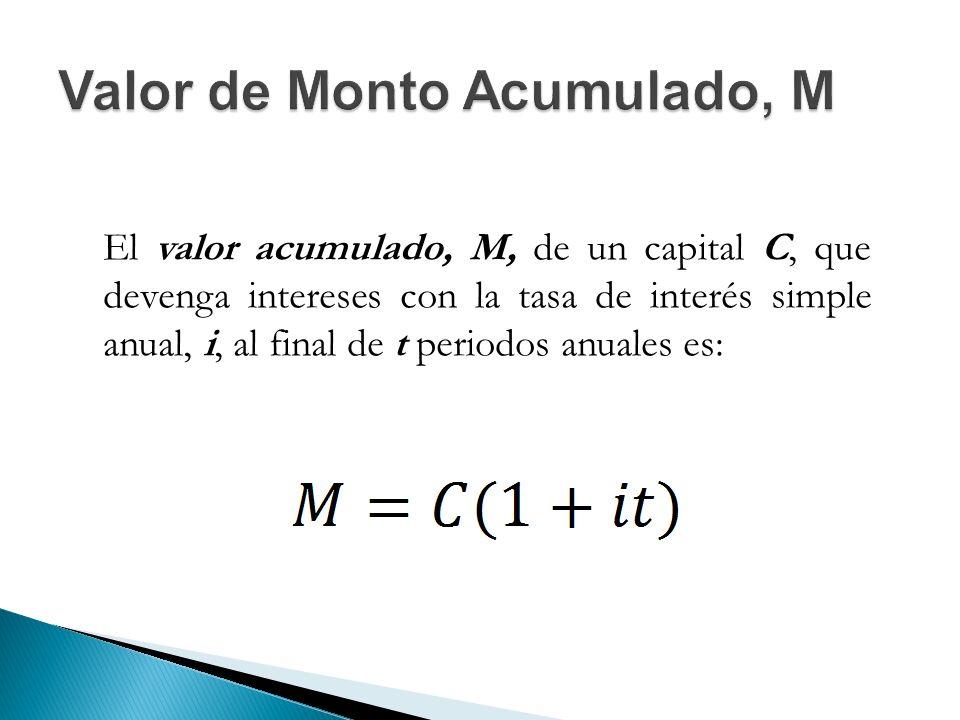 El valor acumulado, M, de un capital C, que devenga intereses con la tasa de interés simple anual, i, al final de t periodos anuales es: