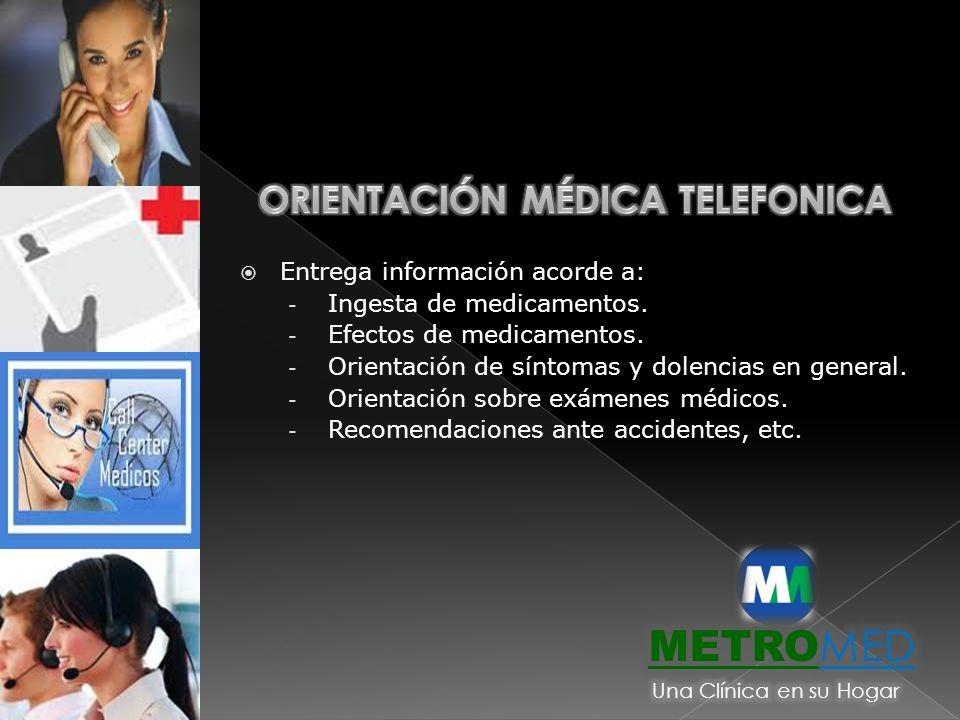 Entrega información acorde a: - Ingesta de medicamentos. - Efectos de medicamentos. - Orientación de síntomas y dolencias en general. - Orientación so