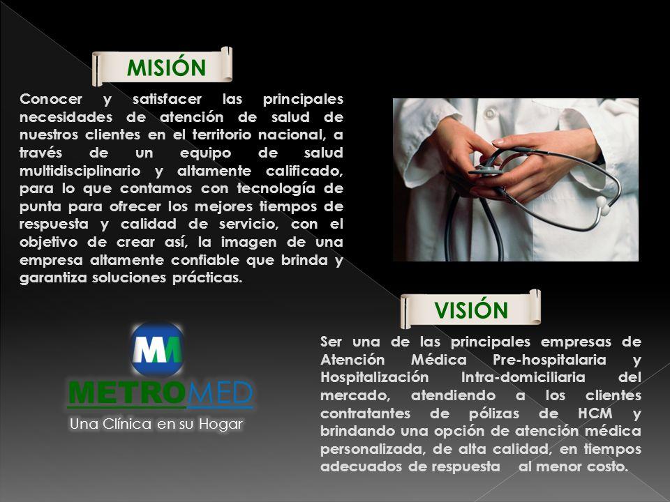 MISIÓN Conocer y satisfacer las principales necesidades de atención de salud de nuestros clientes en el territorio nacional, a través de un equipo de
