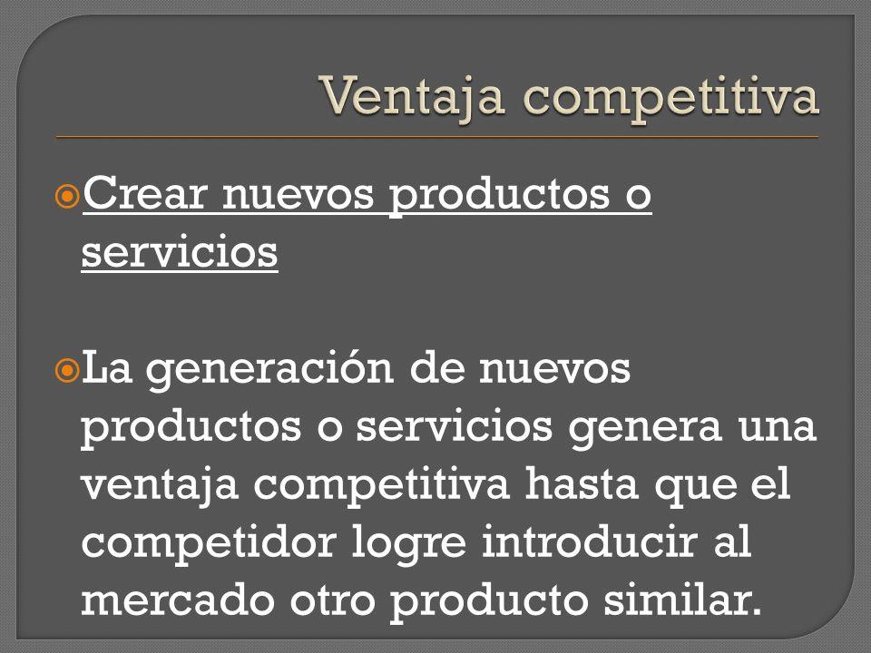 Crear nuevos productos o servicios La generación de nuevos productos o servicios genera una ventaja competitiva hasta que el competidor logre introduc