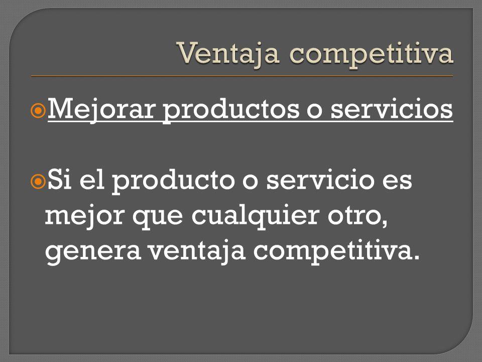 Mejorar productos o servicios Si el producto o servicio es mejor que cualquier otro, genera ventaja competitiva.