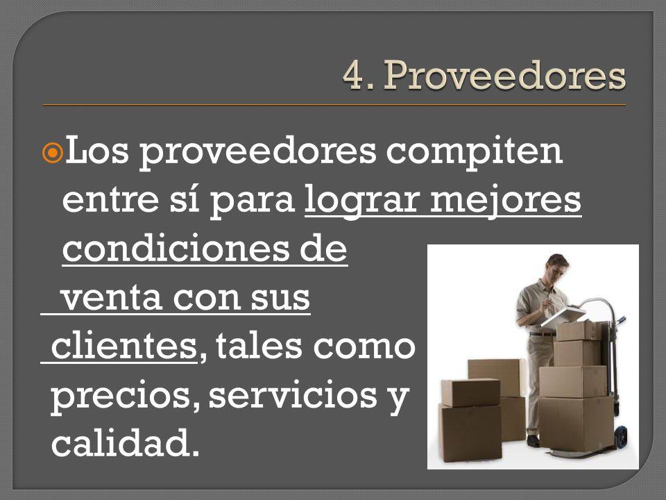Los proveedores compiten entre sí para lograr mejores condiciones de venta con sus clientes, tales como precios, servicios y calidad.
