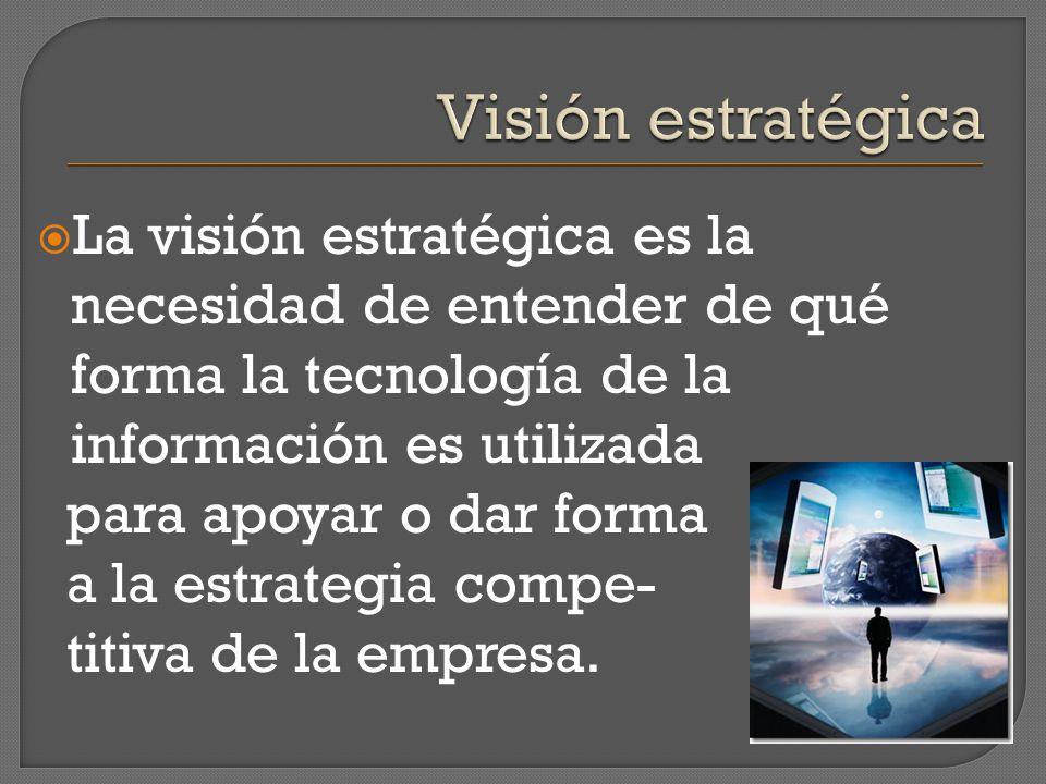La visión estratégica es la necesidad de entender de qué forma la tecnología de la información es utilizada para apoyar o dar forma a la estrategia co