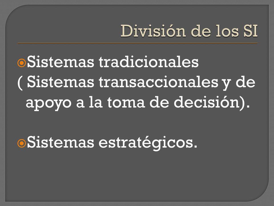 Sistemas tradicionales ( Sistemas transaccionales y de apoyo a la toma de decisión). Sistemas estratégicos.