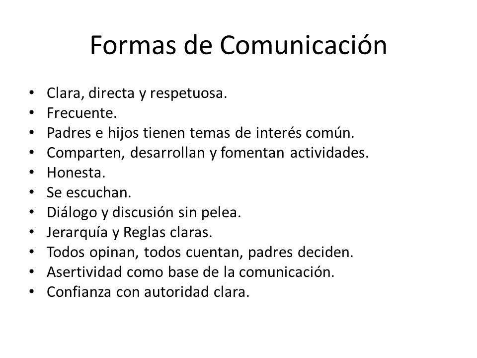 Formas de Comunicación Clara, directa y respetuosa. Frecuente. Padres e hijos tienen temas de interés común. Comparten, desarrollan y fomentan activid