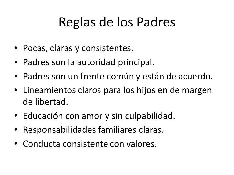 Reglas de los Padres Pocas, claras y consistentes. Padres son la autoridad principal. Padres son un frente común y están de acuerdo. Lineamientos clar