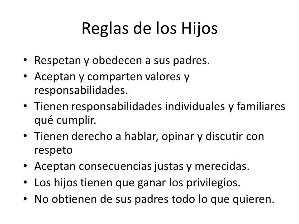 Reglas de los Hijos Respetan y obedecen a sus padres. Aceptan y comparten valores y responsabilidades. Tienen responsabilidades individuales y familia