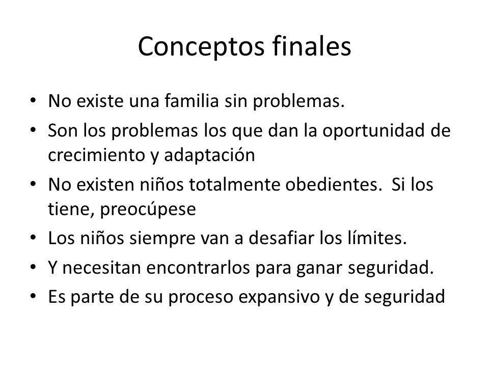Conceptos finales No existe una familia sin problemas. Son los problemas los que dan la oportunidad de crecimiento y adaptación No existen niños total