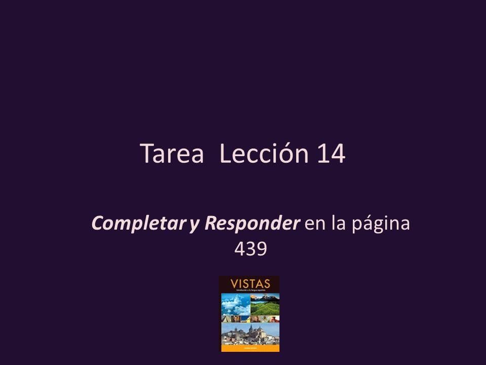 Tarea Lección 14 Completar y Responder en la página 439