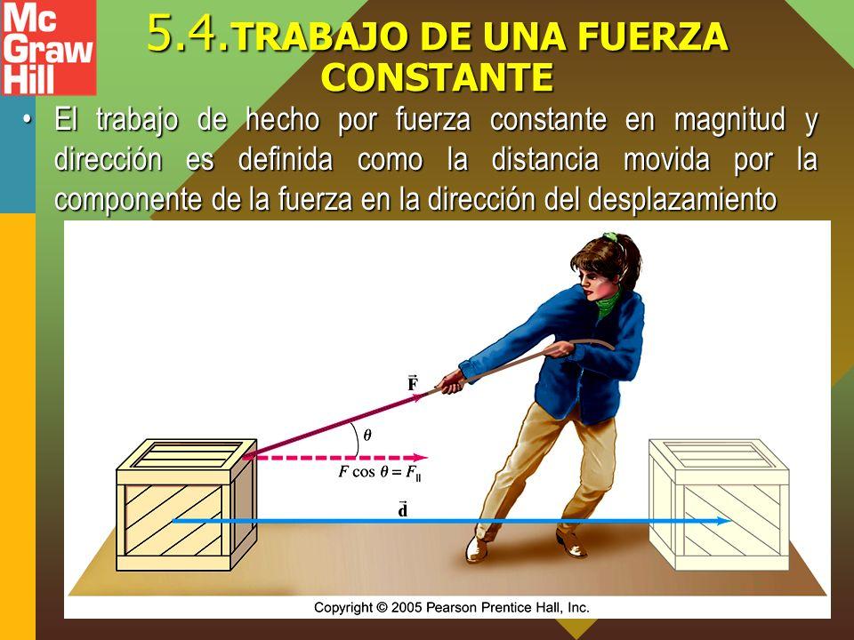 5.4. TRABAJO DE UNA FUERZA CONSTANTE El trabajo de hecho por fuerza constante en magnitud y dirección es definida como la distancia movida por la comp