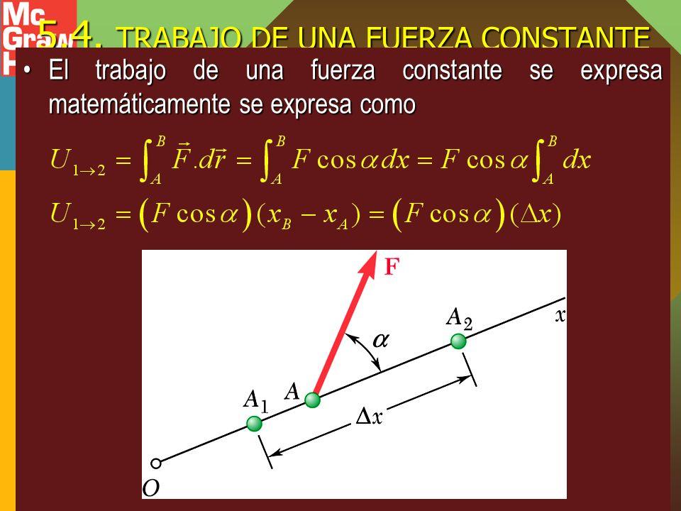 5.4. TRABAJO DE UNA FUERZA CONSTANTE El trabajo de una fuerza constante se expresa matemáticamente se expresa comoEl trabajo de una fuerza constante s