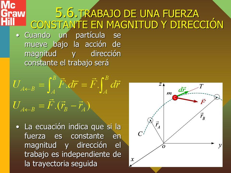 5.6. TRABAJO DE UNA FUERZA CONSTANTE EN MAGNITUD Y DIRECCIÓN Cuando un partícula se mueve bajo la acción de magnitud y dirección constante el trabajo