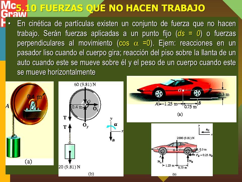 5.10 FUERZAS QUE NO HACEN TRABAJO En cinética de partículas existen un conjunto de fuerza que no hacen trabajo.