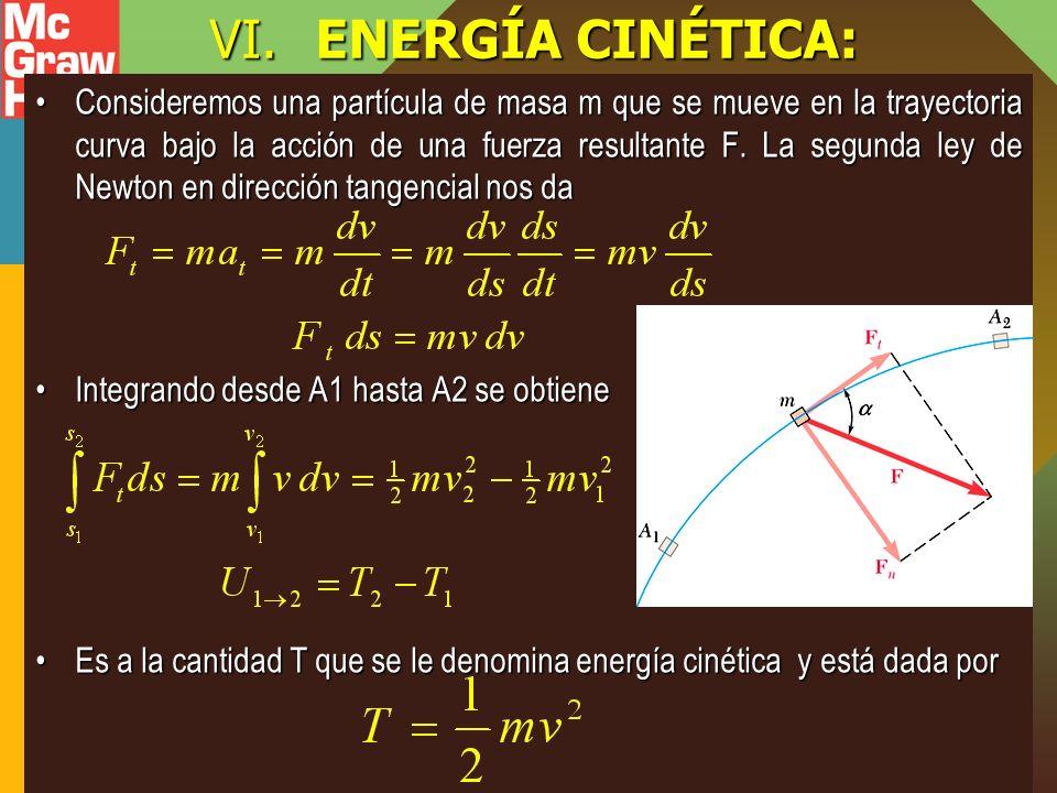VI.ENERGÍA CINÉTICA: Consideremos una partícula de masa m que se mueve en la trayectoria curva bajo la acción de una fuerza resultante F. La segunda l