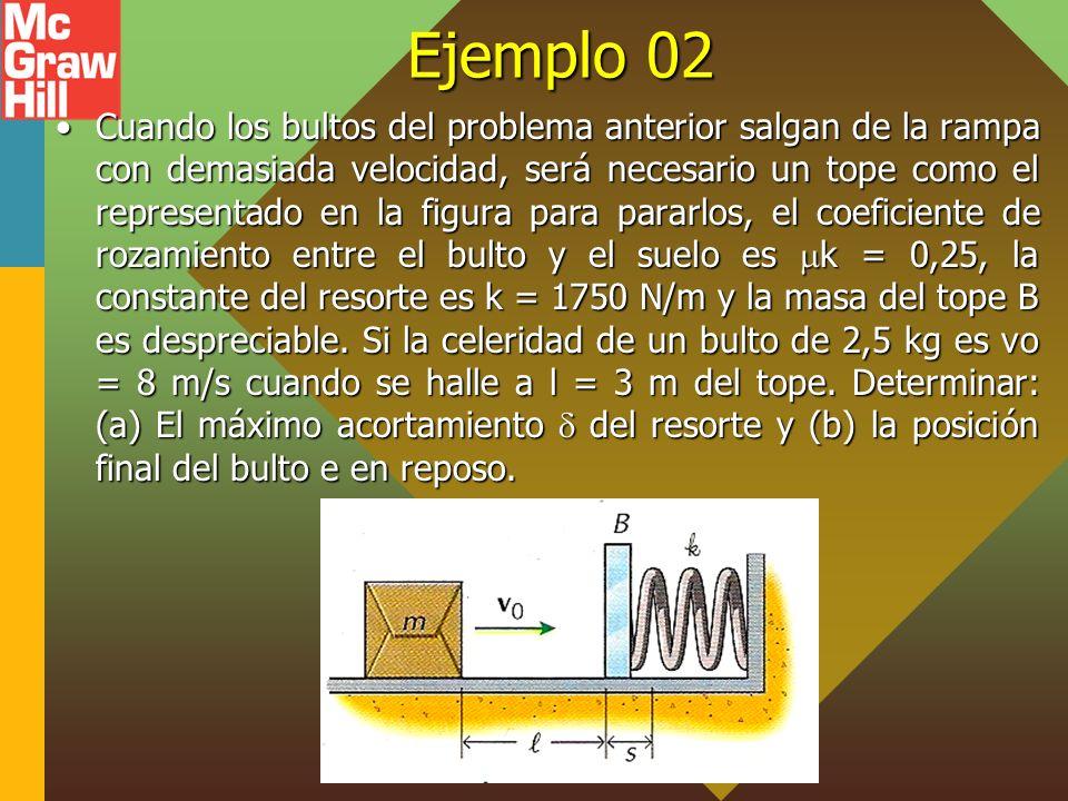 Ejemplo 02 Cuando los bultos del problema anterior salgan de la rampa con demasiada velocidad, será necesario un tope como el representado en la figur