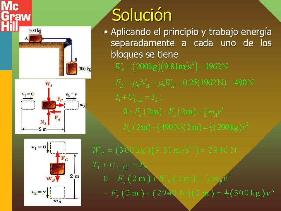 13 - 32 Solución Aplicando el principio y trabajo energía separadamente a cada uno de los bloques se tieneAplicando el principio y trabajo energía sep