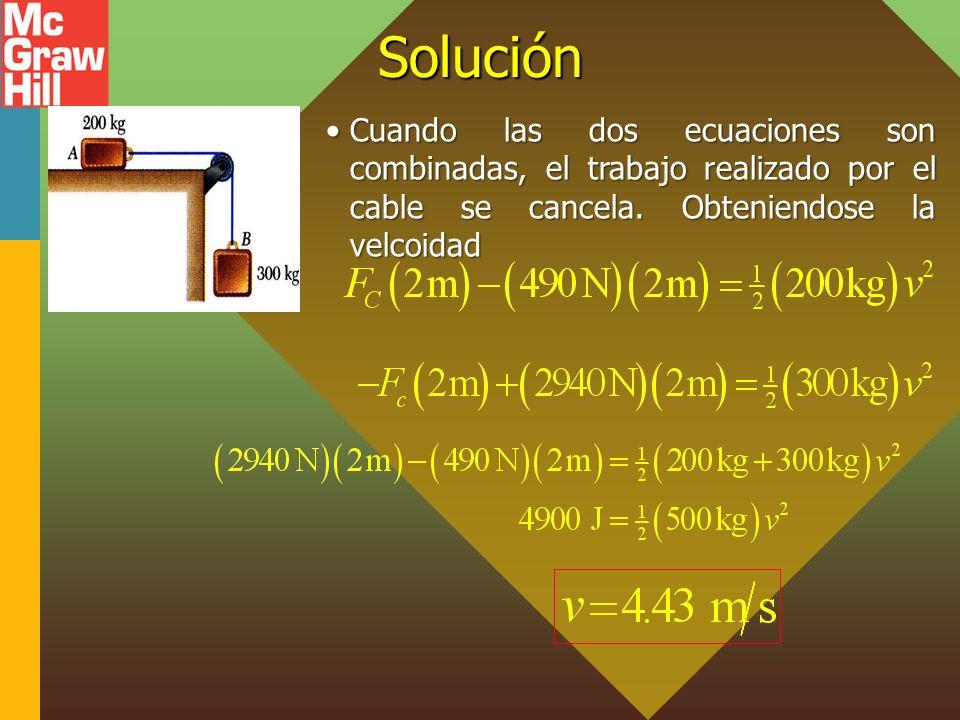 Solución Cuando las dos ecuaciones son combinadas, el trabajo realizado por el cable se cancela. Obteniendose la velcoidadCuando las dos ecuaciones so