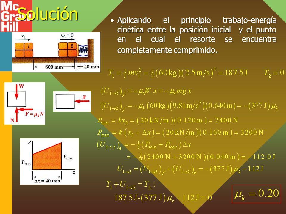 Solución Aplicando el principio trabajo-energía cinética entre la posición inicial y el punto en el cual el resorte se encuentra completamente comprim