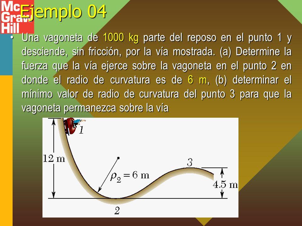 Ejemplo 04 Una vagoneta de 1000 kg parte del reposo en el punto 1 y desciende, sin fricción, por la vía mostrada. (a) Determine la fuerza que la vía e
