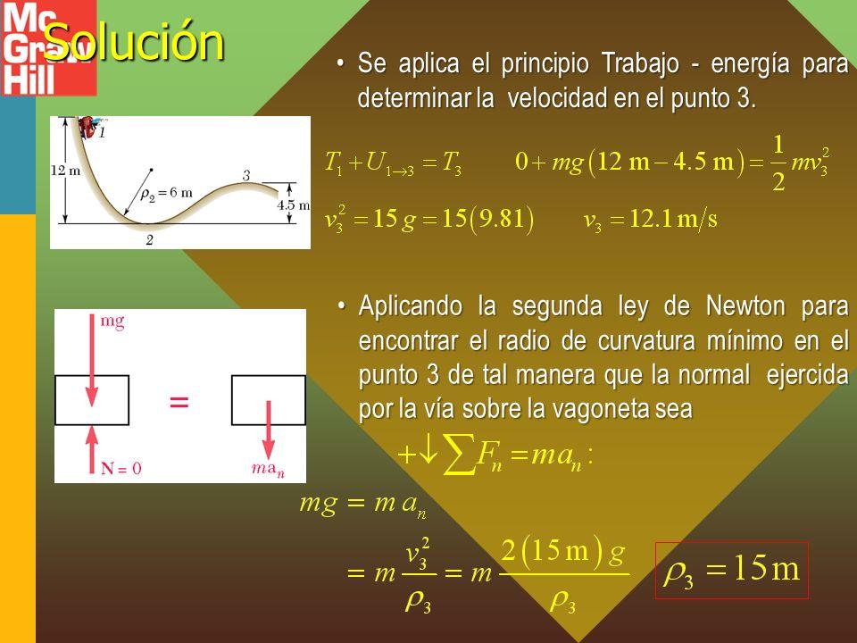 Solución Se aplica el principio Trabajo - energía para determinar la velocidad en el punto 3.Se aplica el principio Trabajo - energía para determinar