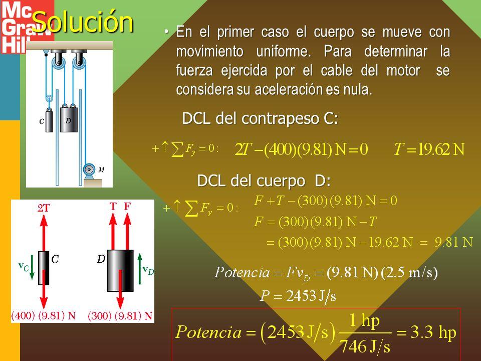 Solución En el primer caso el cuerpo se mueve con movimiento uniforme. Para determinar la fuerza ejercida por el cable del motor se considera su acele