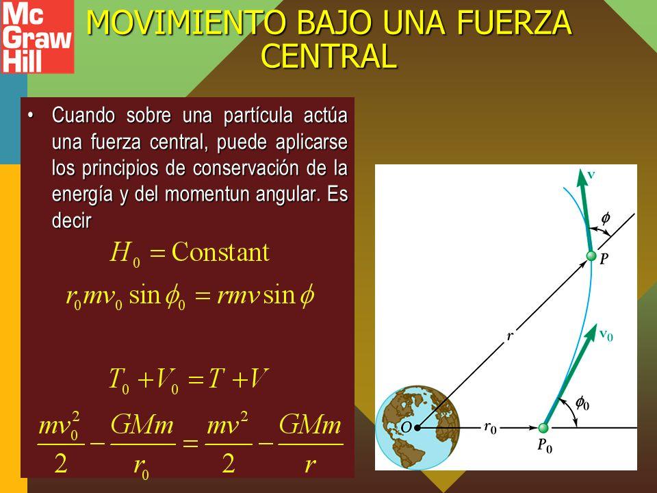 MOVIMIENTO BAJO UNA FUERZA CENTRAL Cuando sobre una partícula actúa una fuerza central, puede aplicarse los principios de conservación de la energía y