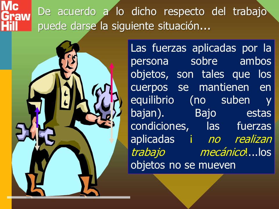 Las fuerzas aplicadas por la persona sobre ambos objetos, son tales que los cuerpos se mantienen en equilibrio (no suben y bajan).