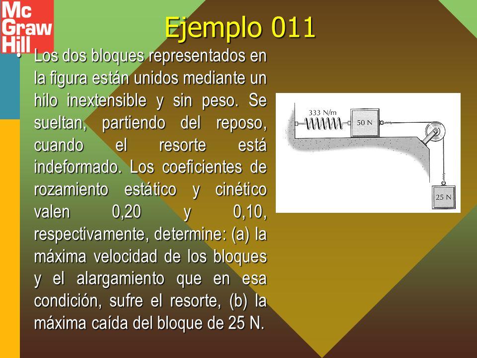 Ejemplo 011 Los dos bloques representados en la figura están unidos mediante un hilo inextensible y sin peso. Se sueltan, partiendo del reposo, cuando