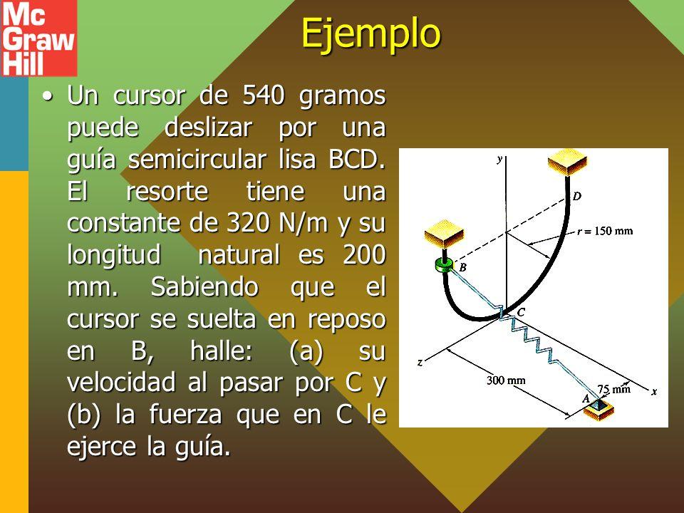 Ejemplo Un cursor de 540 gramos puede deslizar por una guía semicircular lisa BCD. El resorte tiene una constante de 320 N/m y su longitud natural es