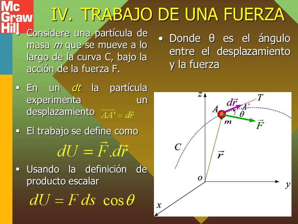 IV.TRABAJO DE UNA FUERZA Considere una partícula de masa m que se mueve a lo largo de la curva C, bajo la acción de la fuerza F.Considere una partícula de masa m que se mueve a lo largo de la curva C, bajo la acción de la fuerza F.