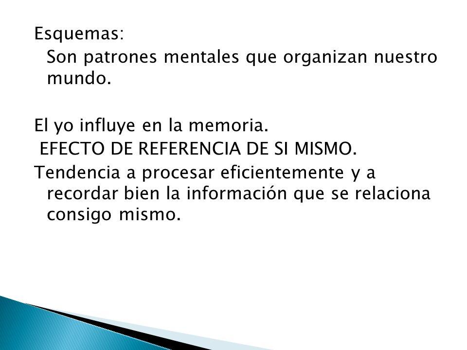 Esquemas: Son patrones mentales que organizan nuestro mundo. El yo influye en la memoria. EFECTO DE REFERENCIA DE SI MISMO. Tendencia a procesar efici