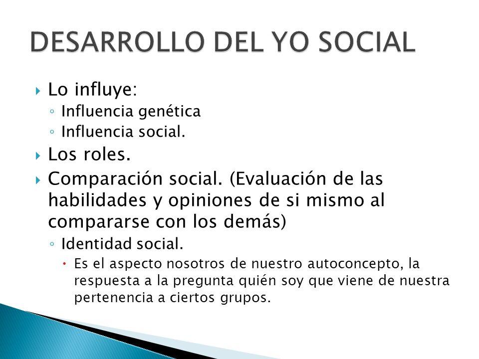 Lo influye: Influencia genética Influencia social. Los roles. Comparación social. (Evaluación de las habilidades y opiniones de si mismo al compararse