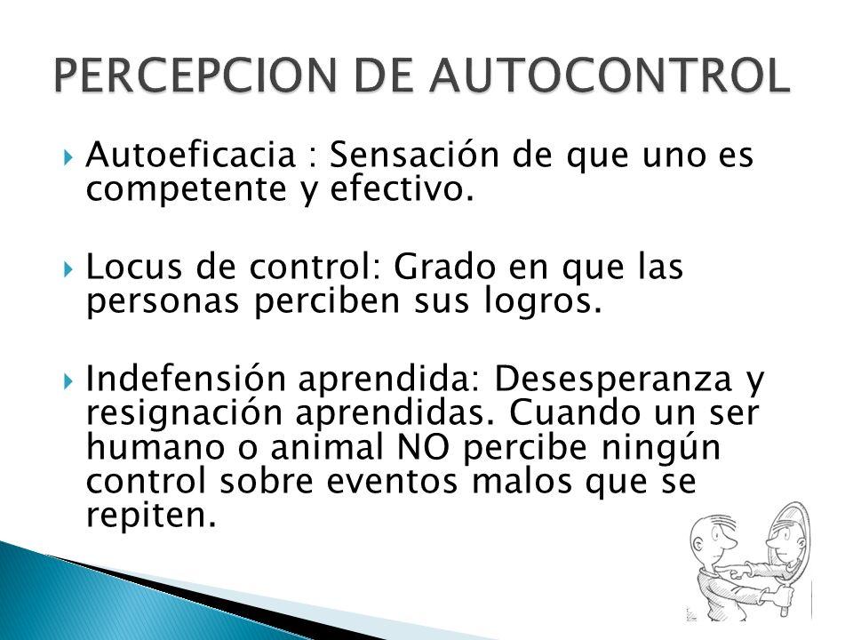 Autoeficacia : Sensación de que uno es competente y efectivo. Locus de control: Grado en que las personas perciben sus logros. Indefensión aprendida: