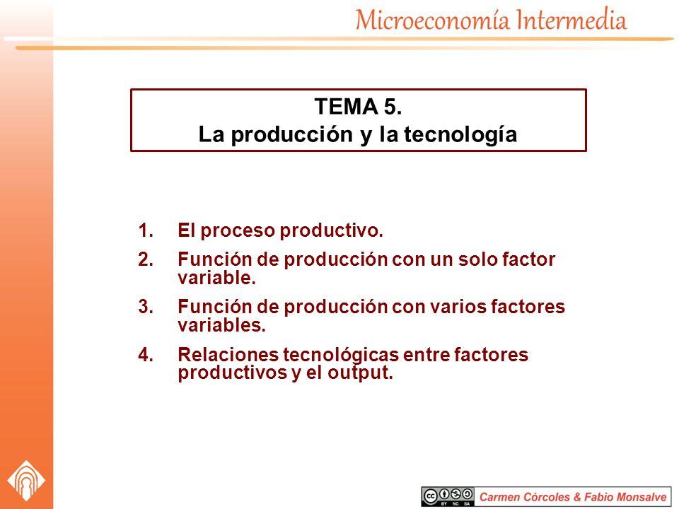 1.El proceso productivo. 2.Función de producción con un solo factor variable. 3.Función de producción con varios factores variables. 4.Relaciones tecn