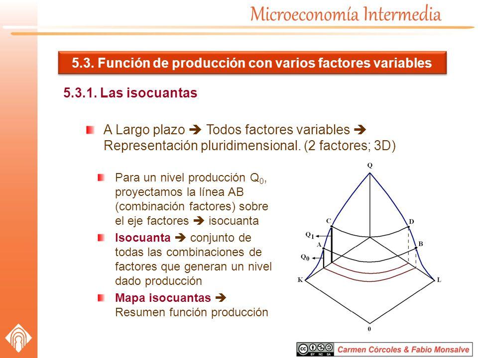 5.3. Función de producción con varios factores variables 5.3.1. Las isocuantas A Largo plazo Todos factores variables Representación pluridimensional.