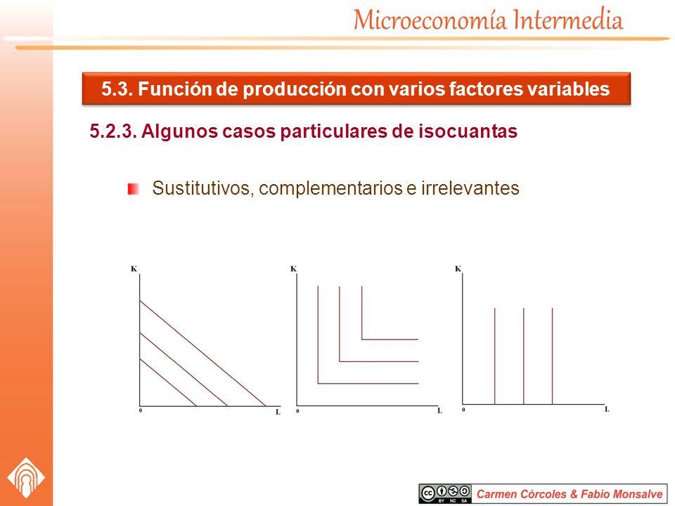 5.3. Función de producción con varios factores variables 5.2.3. Algunos casos particulares de isocuantas Sustitutivos, complementarios e irrelevantes