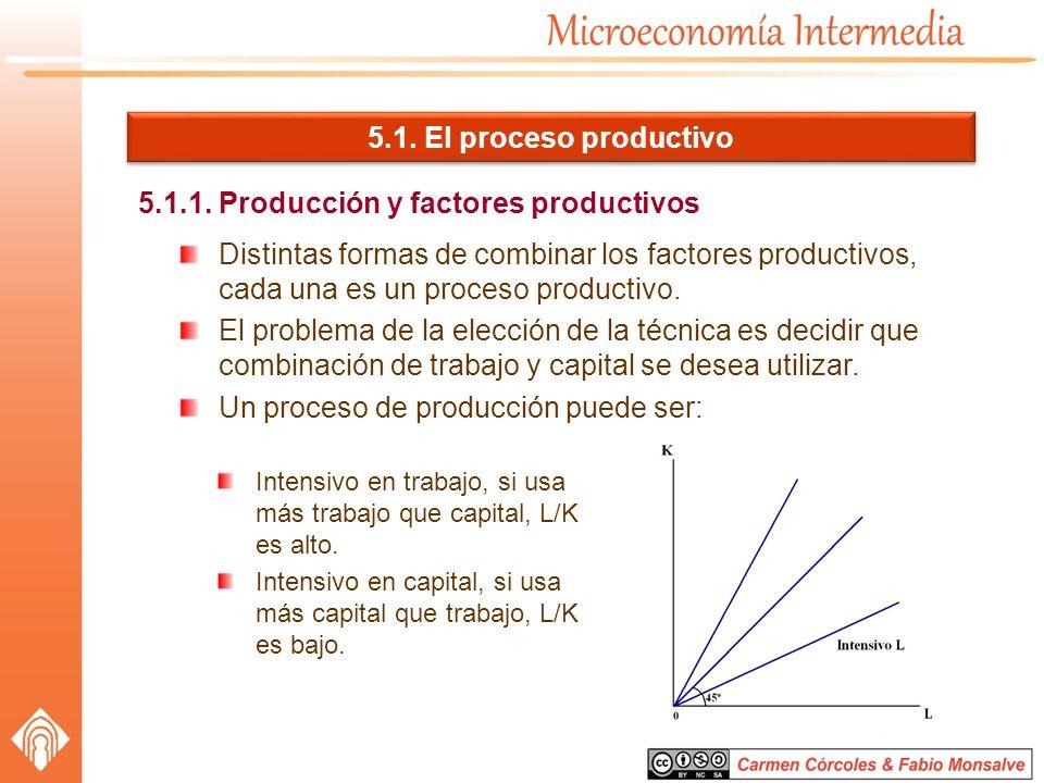 5.1. El proceso productivo Distintas formas de combinar los factores productivos, cada una es un proceso productivo. El problema de la elección de la