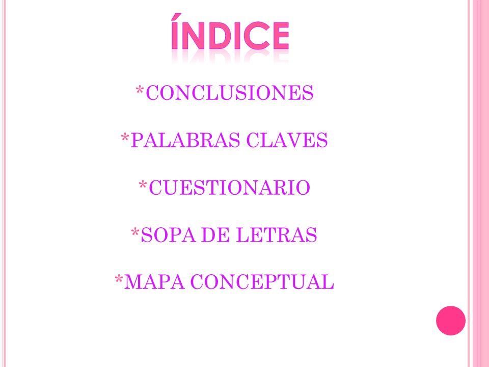 *CONCLUSIONES *PALABRAS CLAVES *CUESTIONARIO *SOPA DE LETRAS *MAPA CONCEPTUAL
