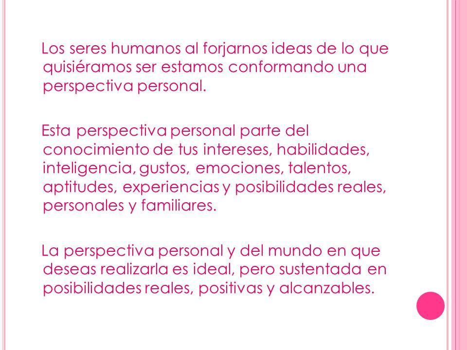 Los seres humanos al forjarnos ideas de lo que quisiéramos ser estamos conformando una perspectiva personal. Esta perspectiva personal parte del conoc