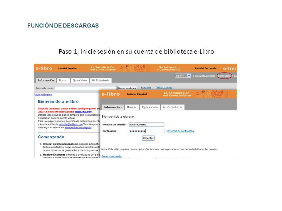 Paso 1, inicie sesión en su cuenta de biblioteca e-Libro FUNCIÓN DE DESCARGAS